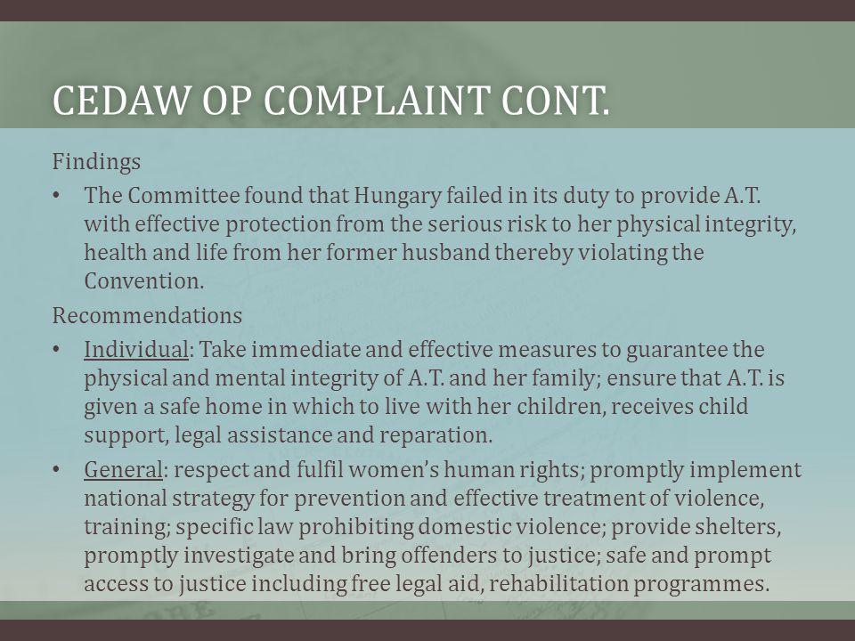 CEDAW OP Complaint Cont.