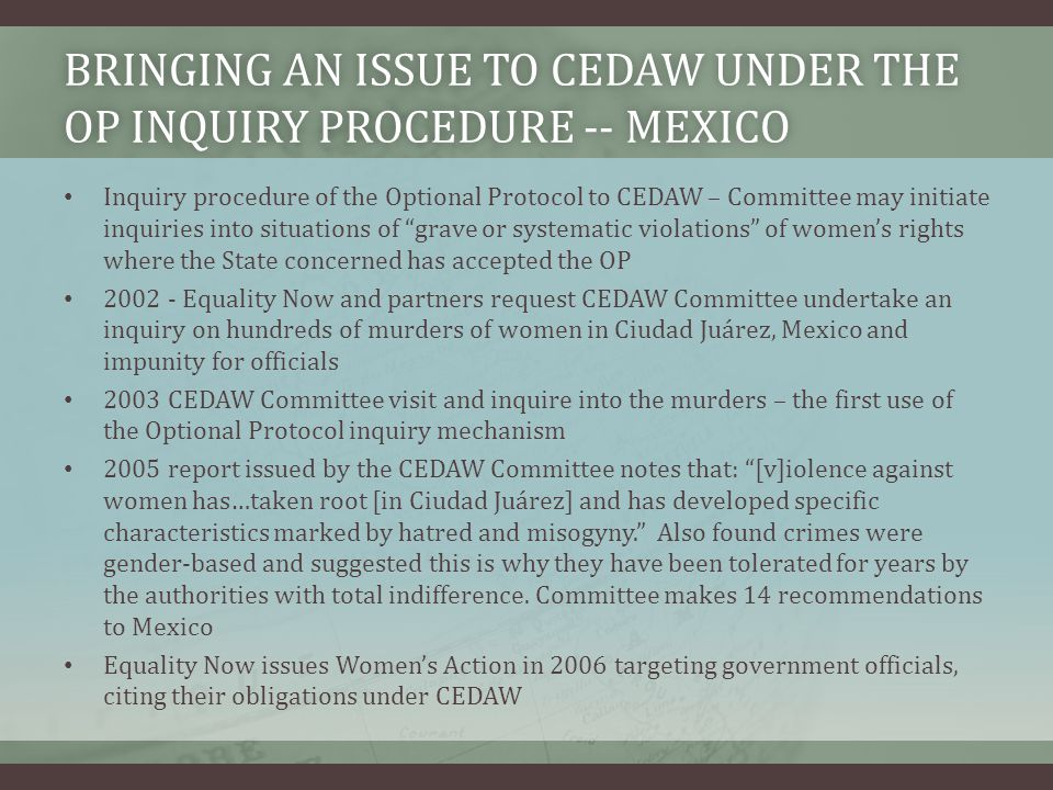 Bringing an issue to CEDAW under the OP inquiry procedure -- Mexico