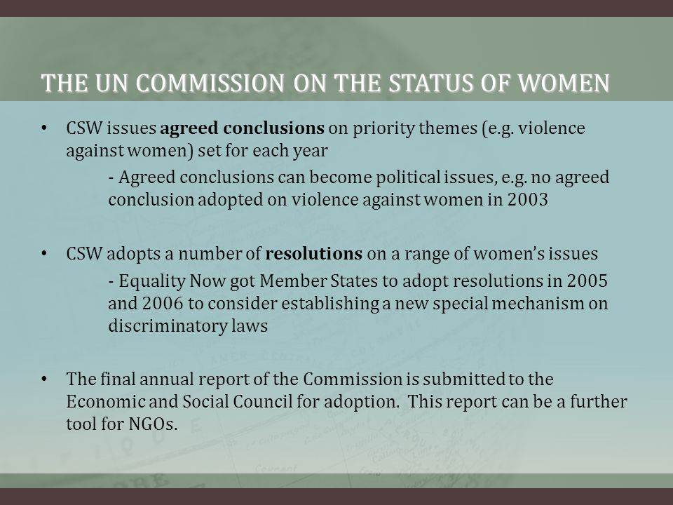 THE UN COMMISSION ON THE STATUS OF WOMEN