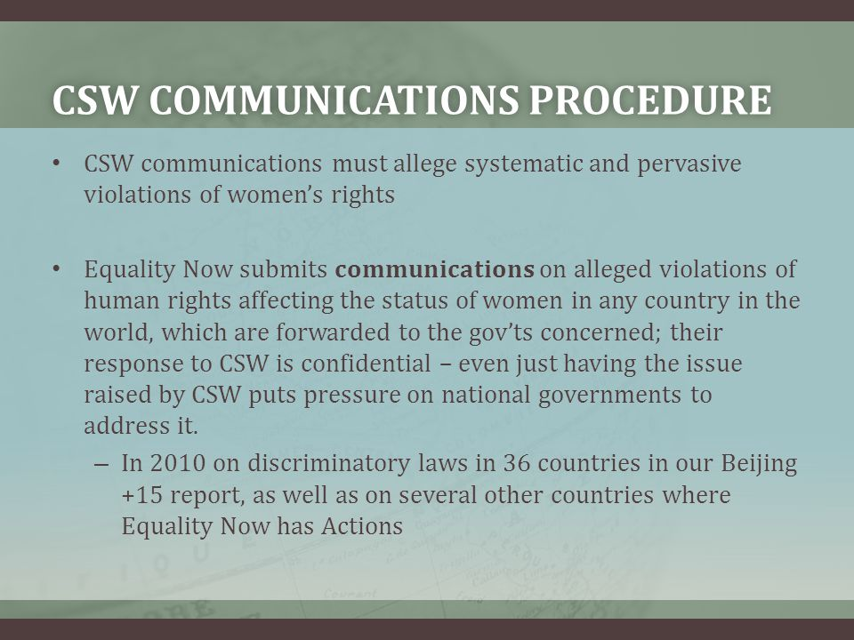CSW communications procedure