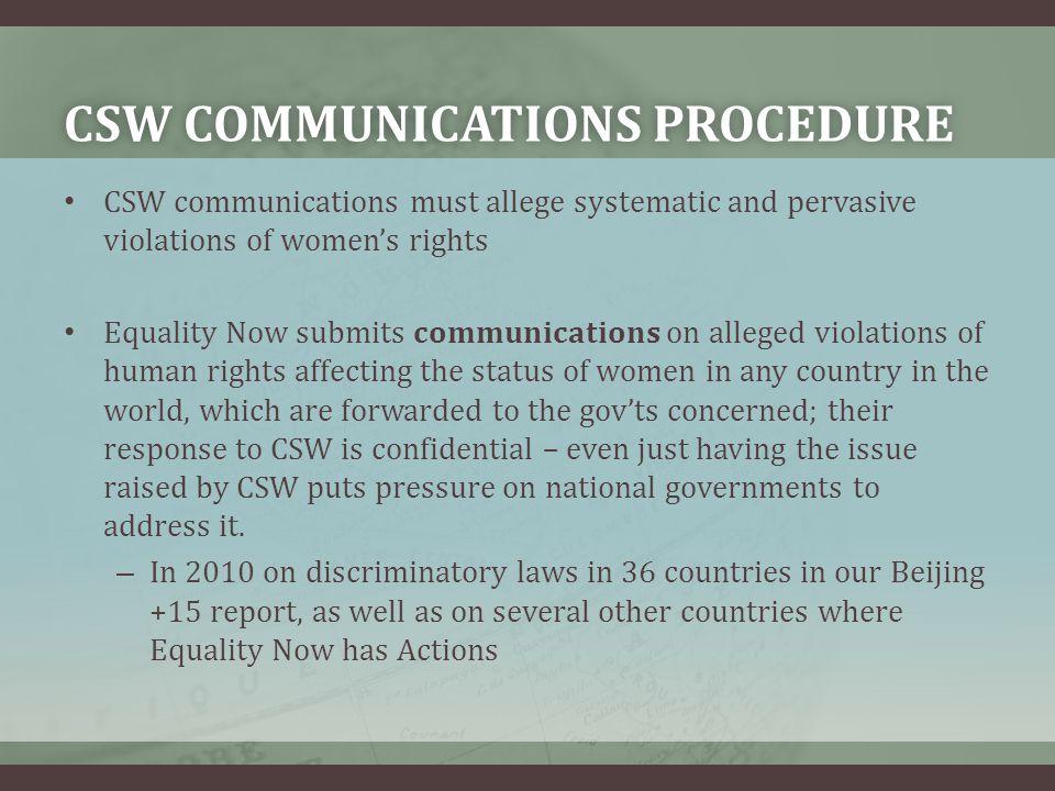CSW communications procedure