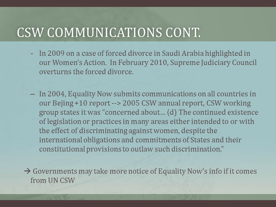 CSW communications cont.