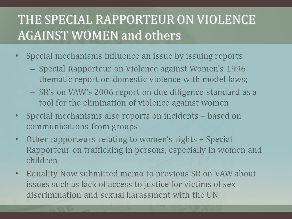 THE SPECIAL RAPPORTEUR ON VIOLENCE AGAINST WOMEN and others