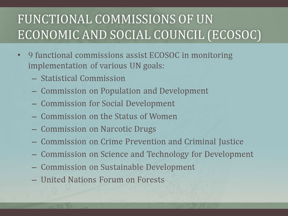 Functional Commissions of UN Economic and SOCial Council (ECOSOC)