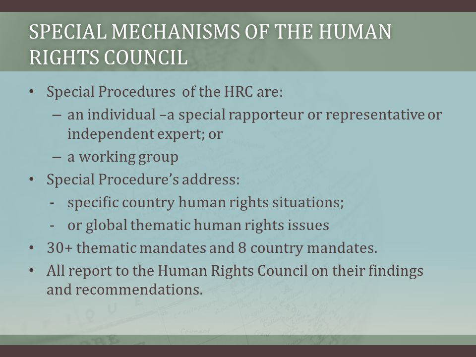 Special Mechanisms of the Human Rights Council