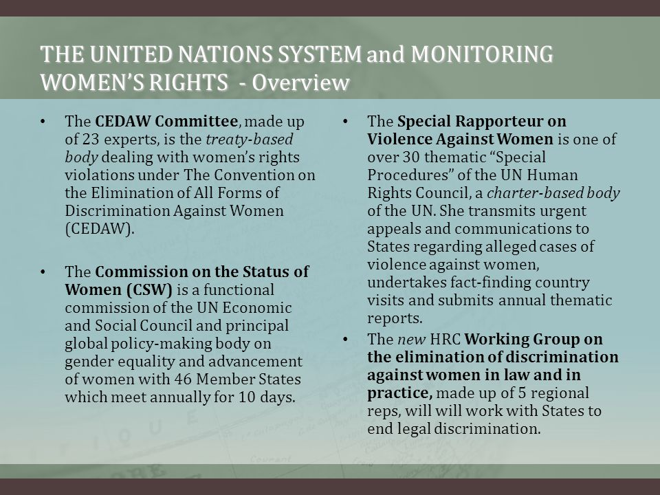 THE UNITED NATIONS SYSTEM and MONITORING WOMEN'S RIGHTS - Overview
