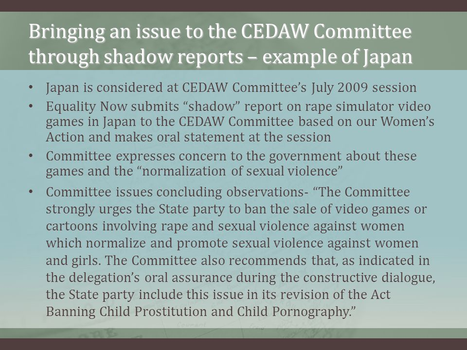 Bringing an issue to the CEDAW Committee through shadow reports – example of Japan