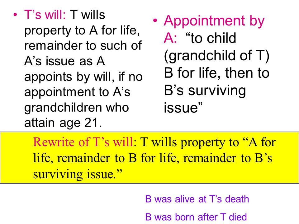 T's will: T wills property to A for life, remainder to such of A's issue as A appoints by will, if no appointment to A's grandchildren who attain age 21.
