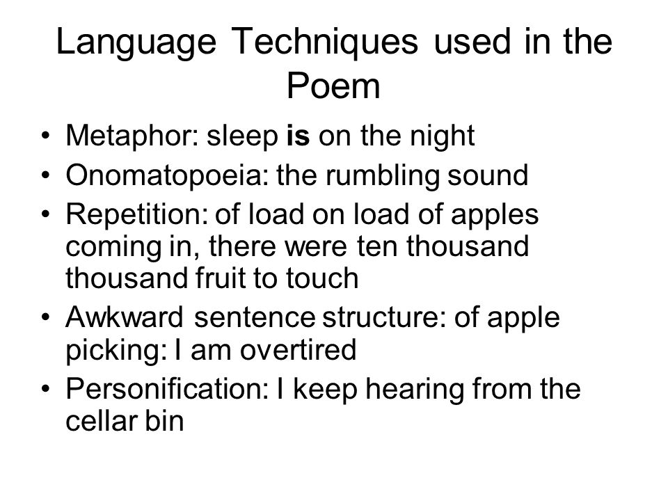 Language Techniques used in the Poem