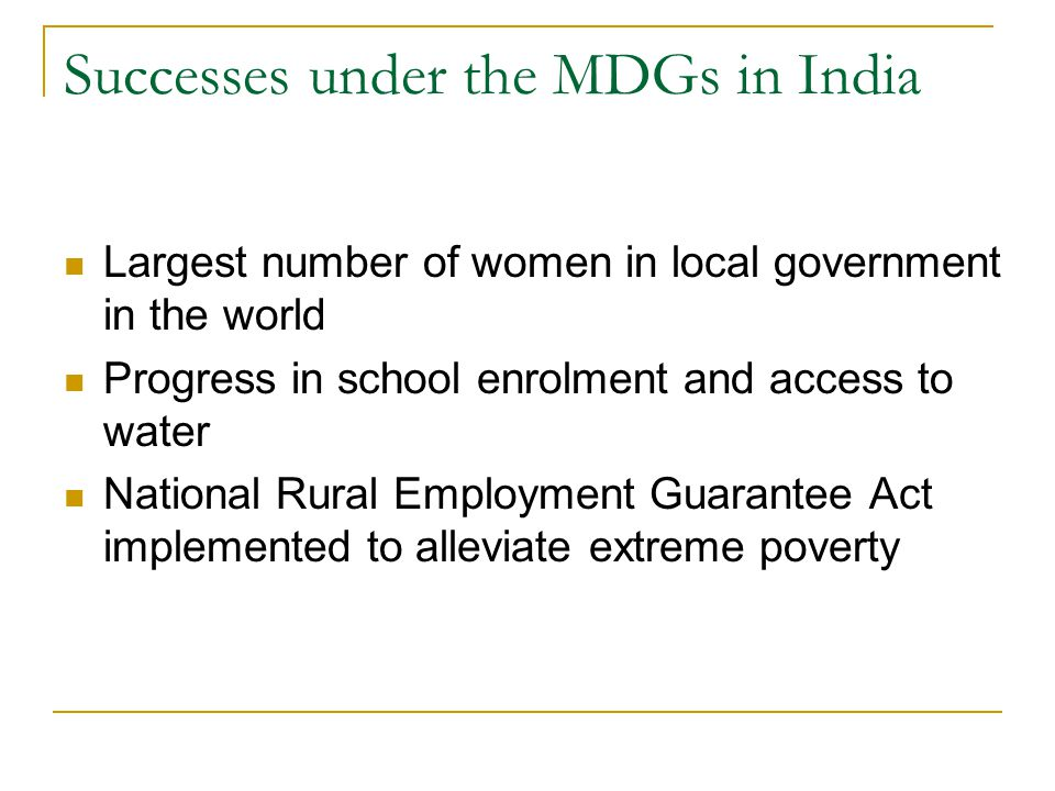 Successes under the MDGs in India