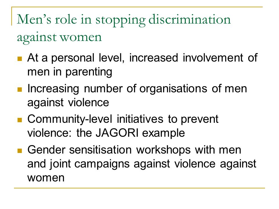 Men's role in stopping discrimination against women