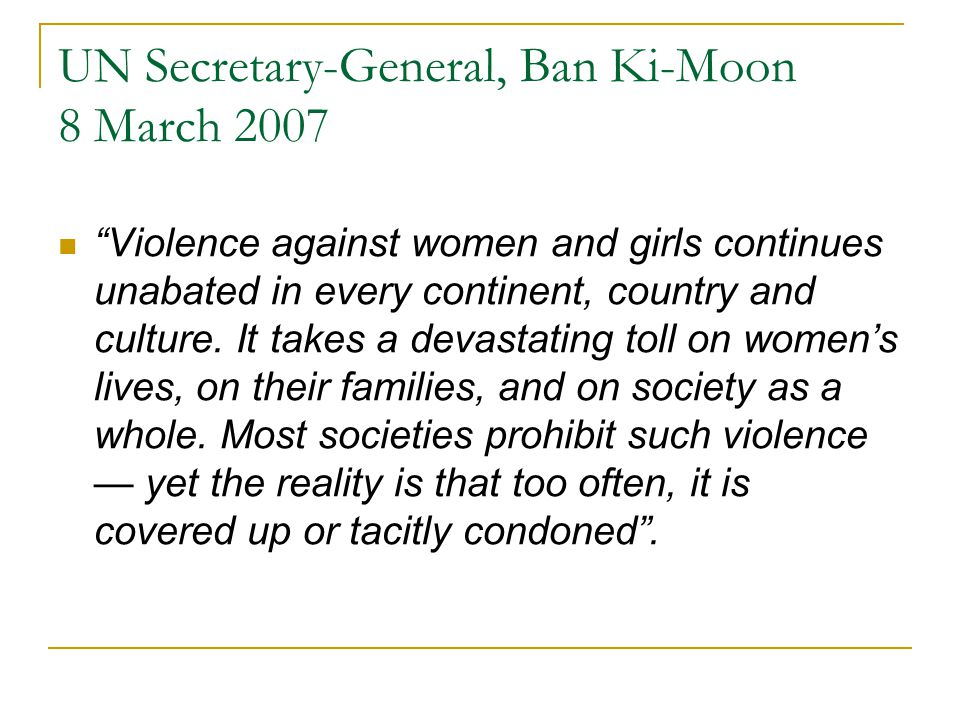 UN Secretary-General, Ban Ki-Moon 8 March 2007