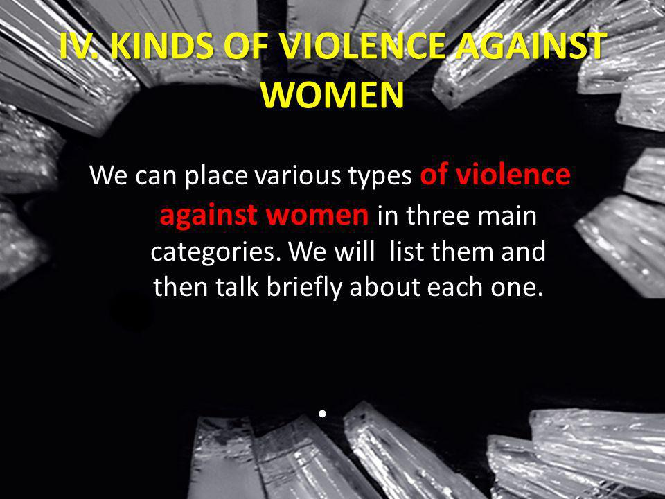 IV. KINDS OF VIOLENCE AGAINST WOMEN