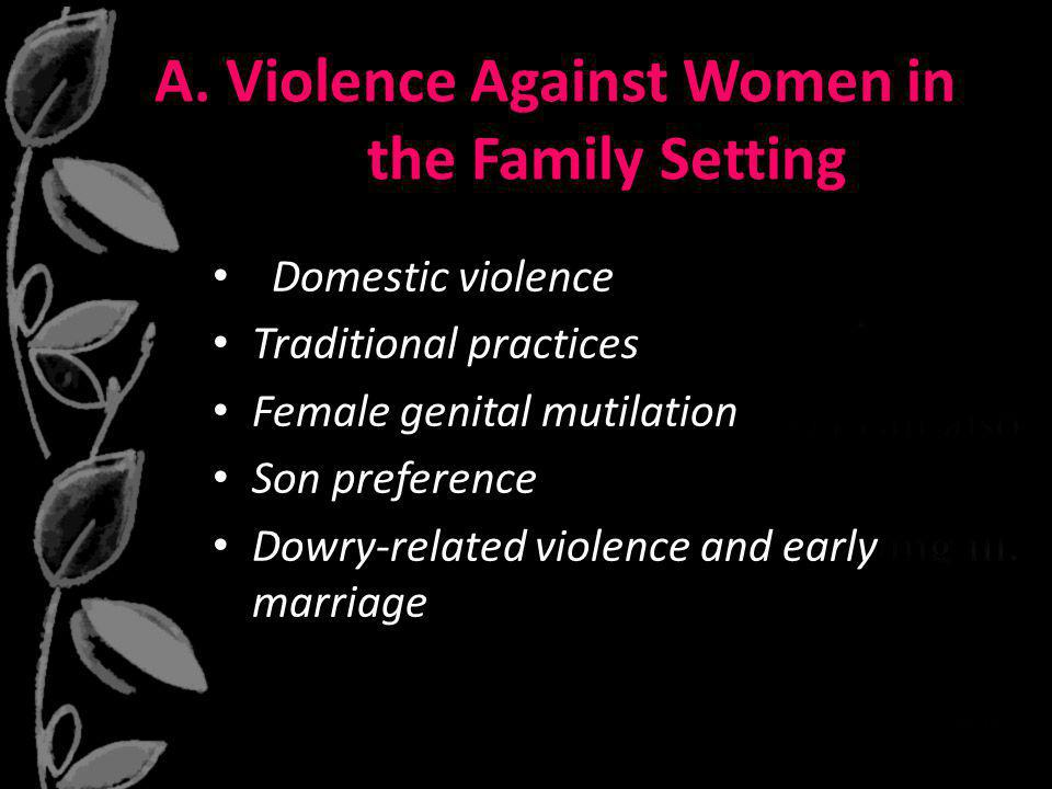 A. Violence Against Women in the Family Setting