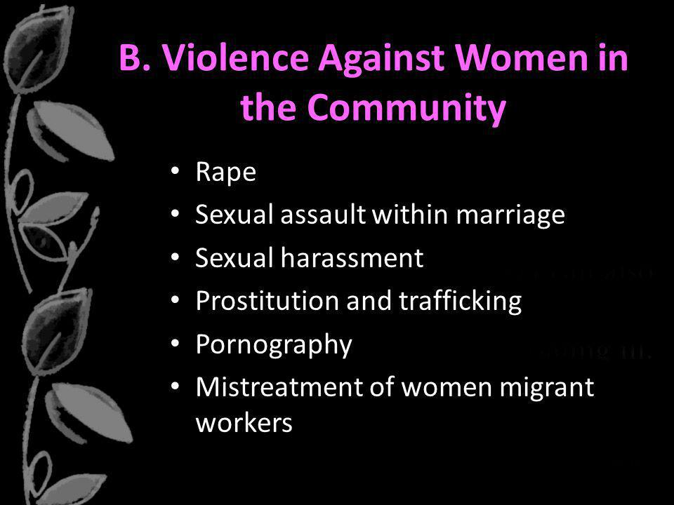 B. Violence Against Women in the Community