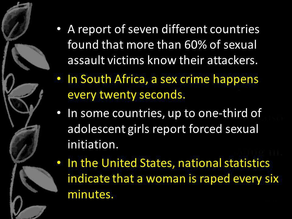 In South Africa, a sex crime happens every twenty seconds.