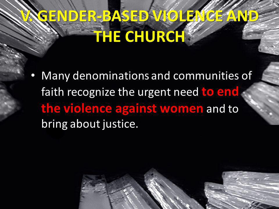 V. GENDER-BASED VIOLENCE AND THE CHURCH
