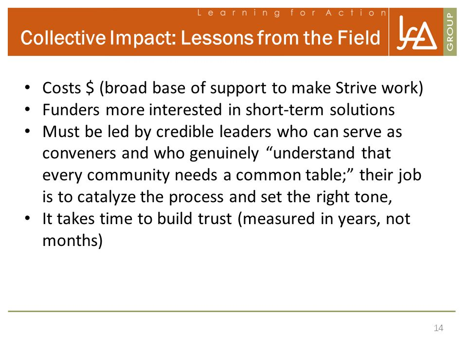 Collective Impact: Lessons from the Field