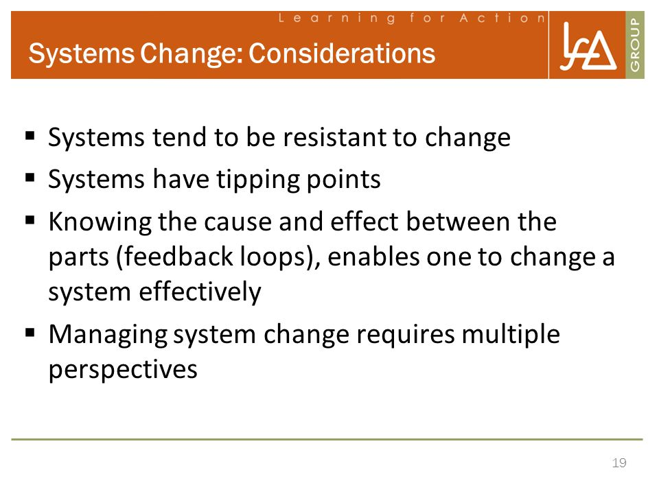 Systems Change: Considerations