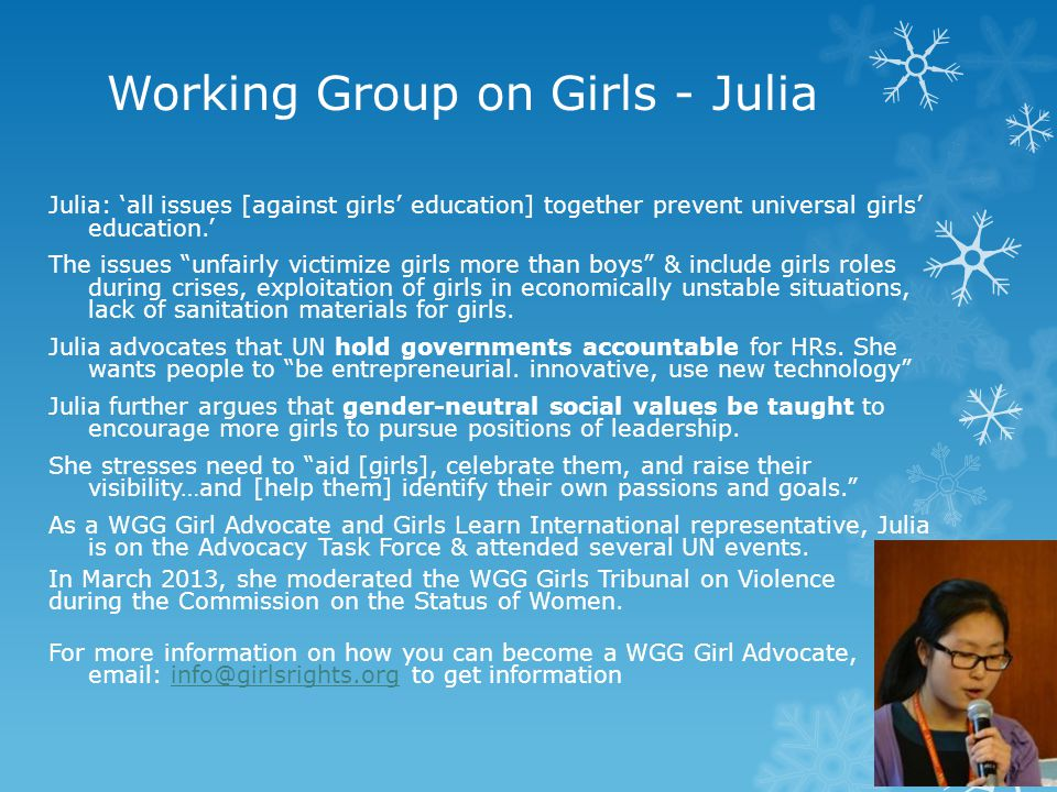 Working Group on Girls - Julia