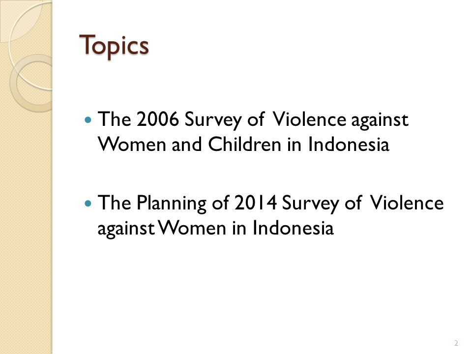 Topics The 2006 Survey of Violence against Women and Children in Indonesia.