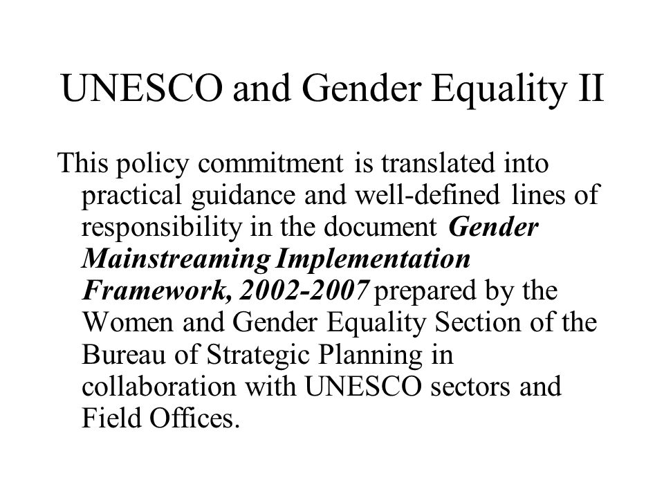 UNESCO and Gender Equality II