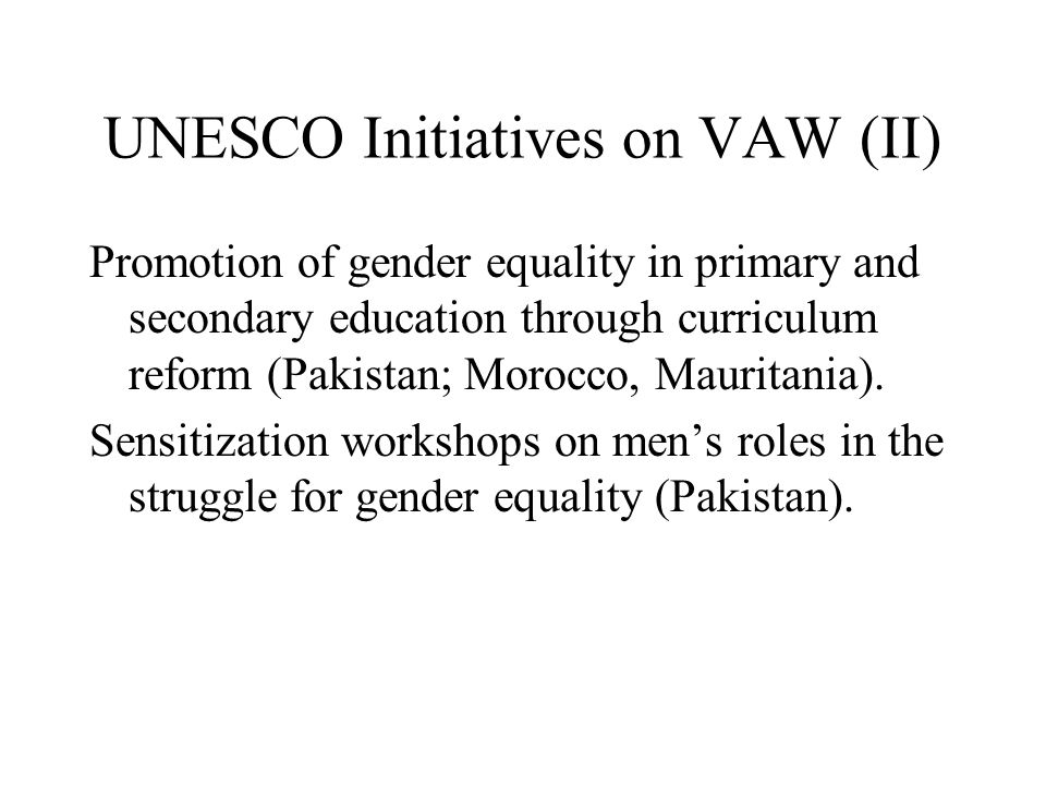 UNESCO Initiatives on VAW (II)