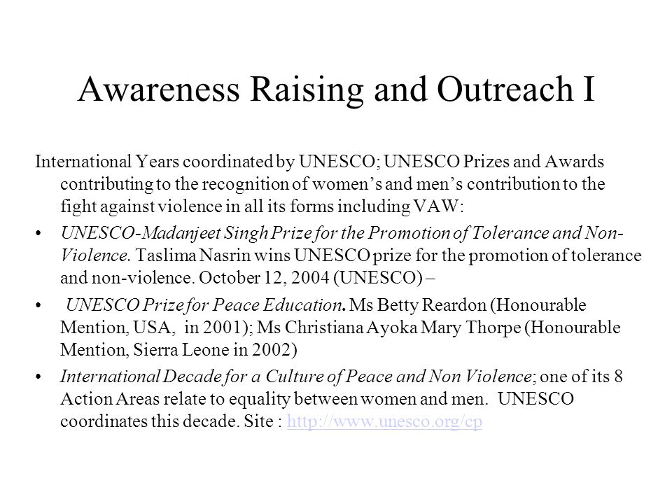 Awareness Raising and Outreach I