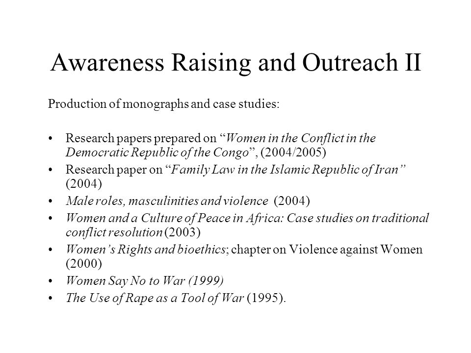 Awareness Raising and Outreach II