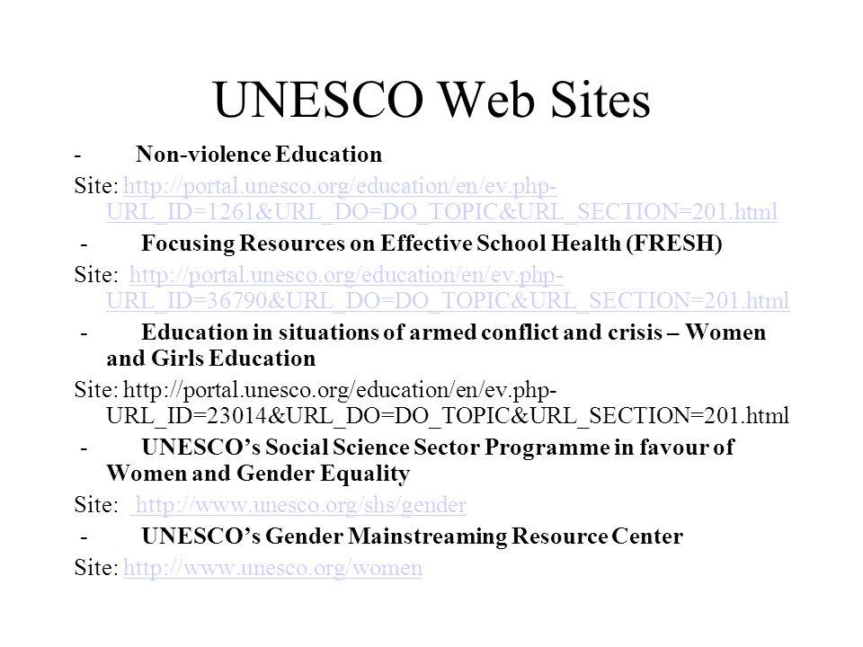 UNESCO Web Sites - Non-violence Education