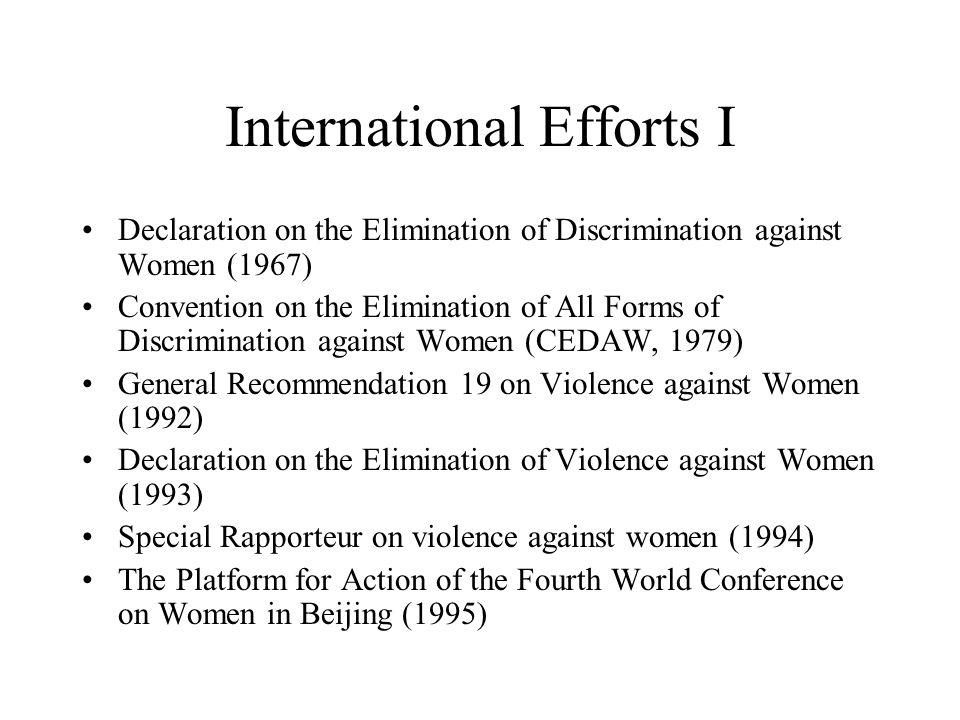 International Efforts I