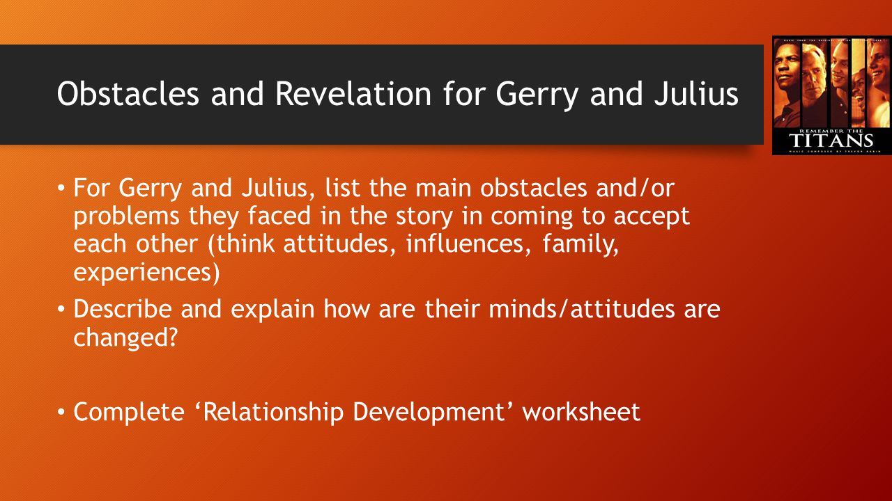 Obstacles and Revelation for Gerry and Julius