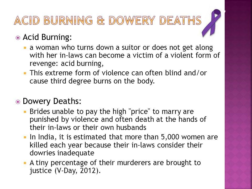Acid burning & Dowery deaths