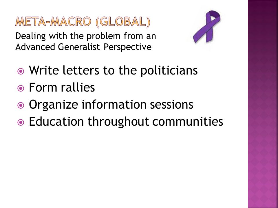 Write letters to the politicians Form rallies