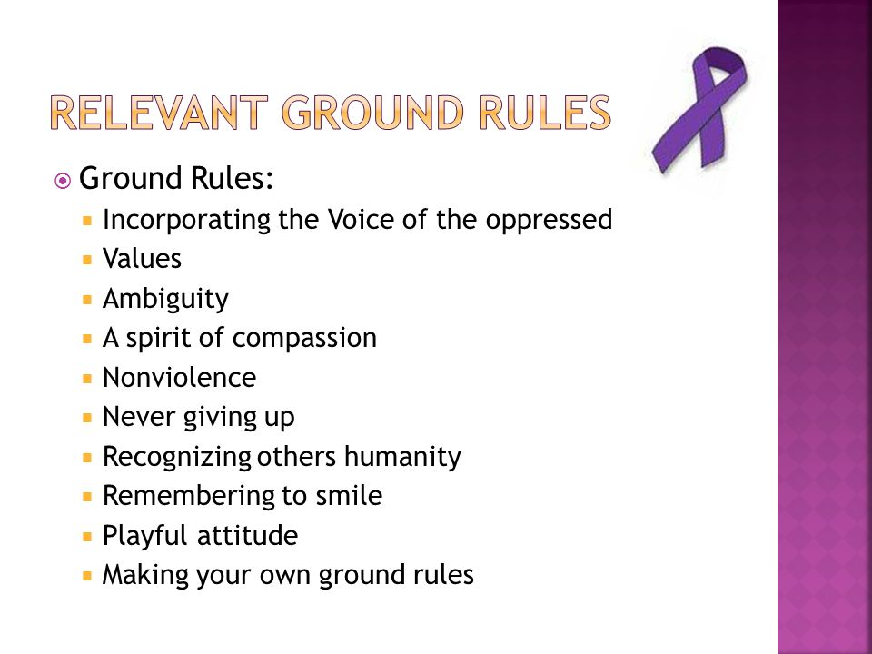 Relevant Ground Rules Ground Rules: