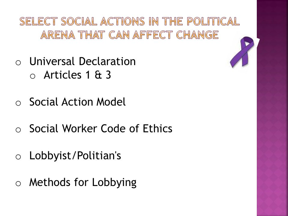 Select Social Actions in the political arena that can affect change