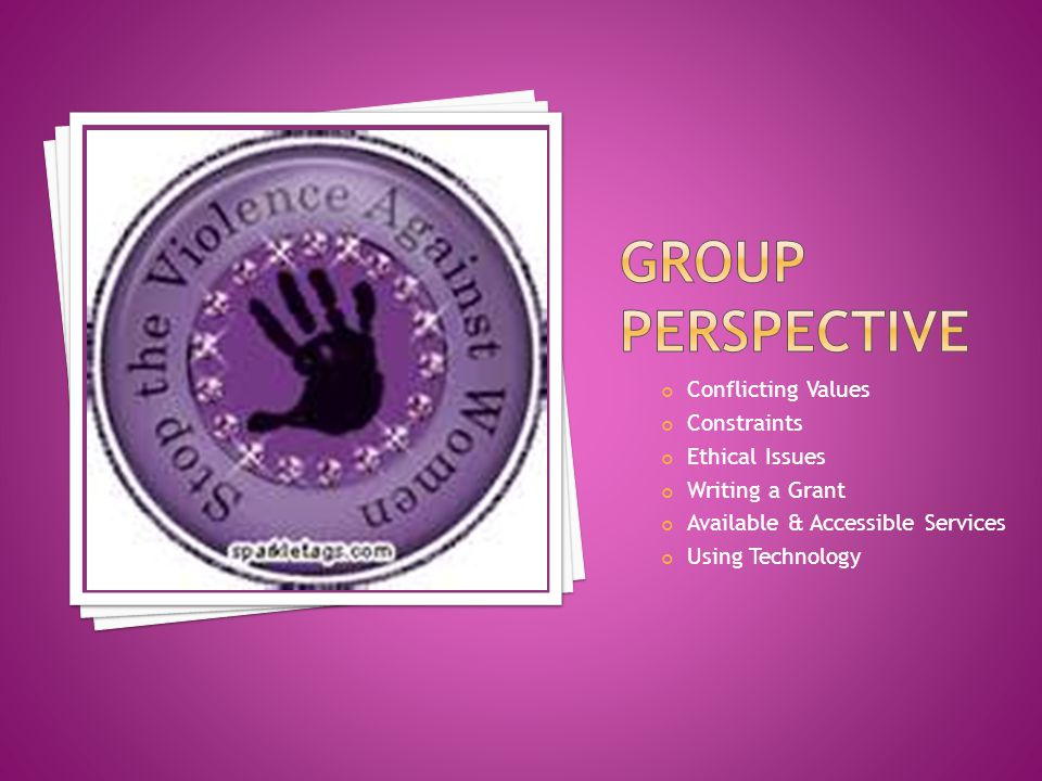 Group perspective Conflicting Values Constraints Ethical Issues