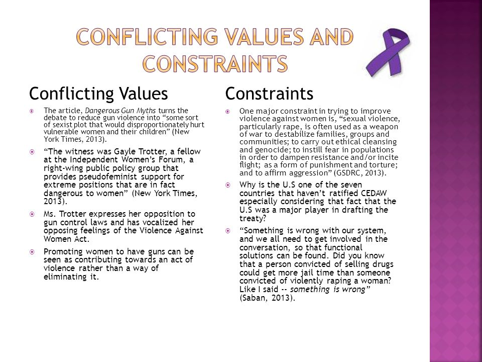 Conflicting values and constraints