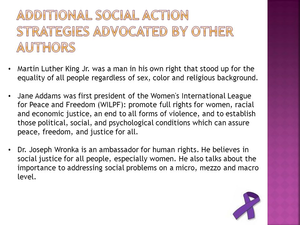 Additional Social Action Strategies Advocated by other Authors