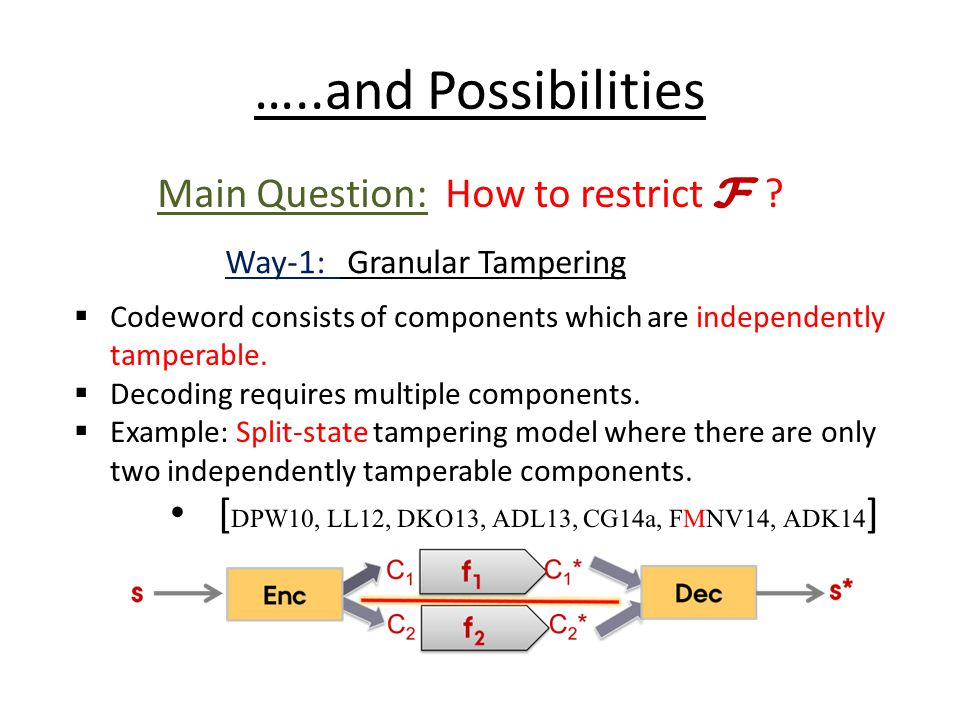 …..and Possibilities Main Question: How to restrict F