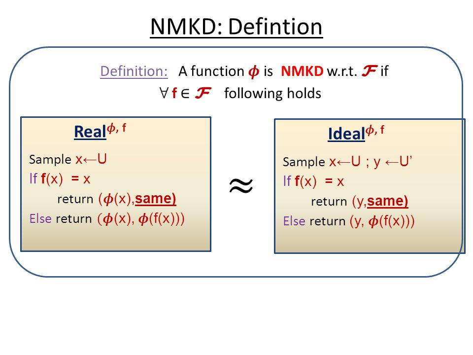Definition: A function 𝝓 is NMKD w.r.t. F if