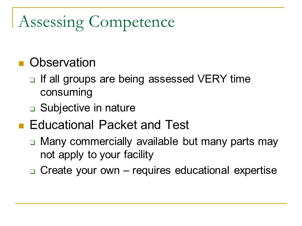 Assessing Competence Observation Educational Packet and Test