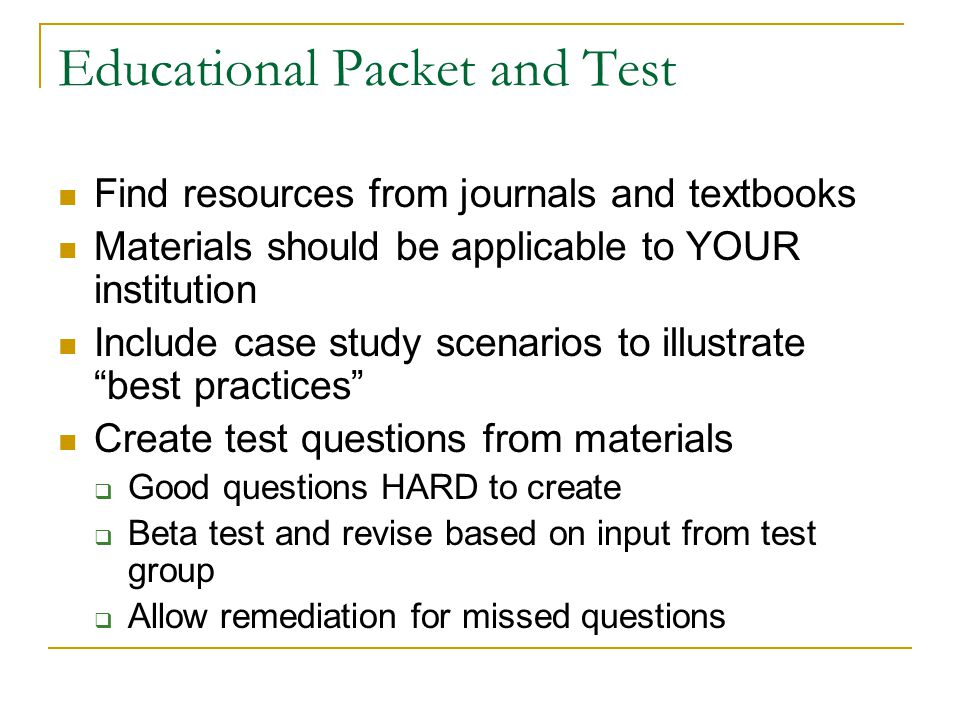 Educational Packet and Test