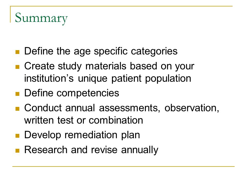 Summary Define the age specific categories