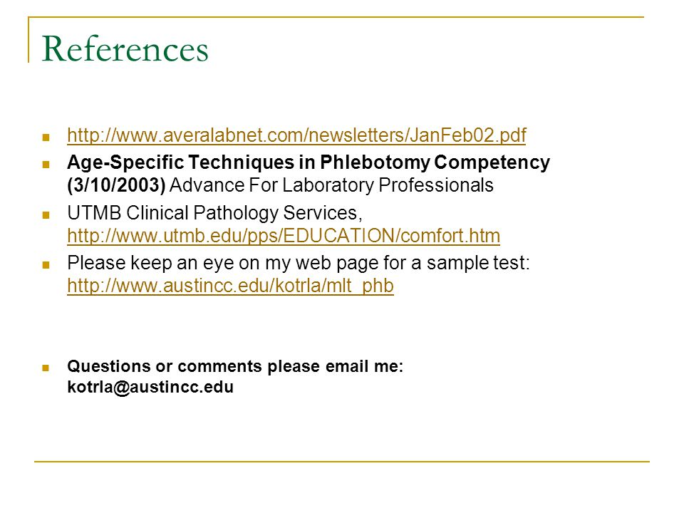 References http://www.averalabnet.com/newsletters/JanFeb02.pdf