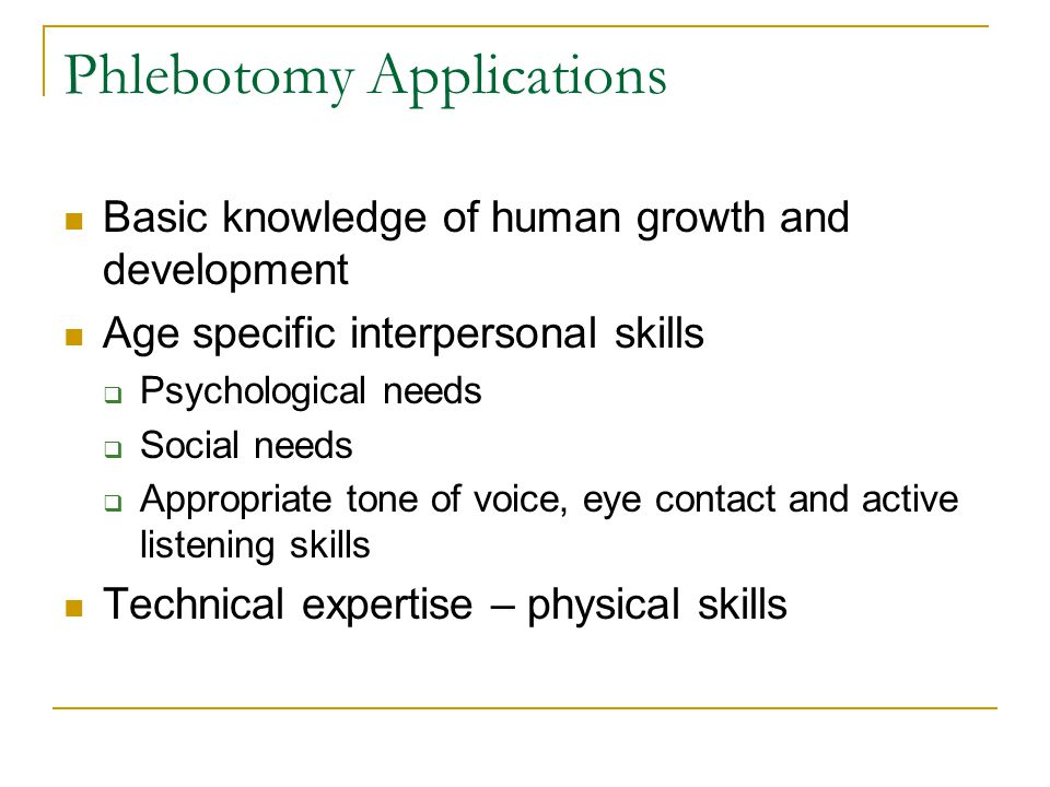 Phlebotomy Applications