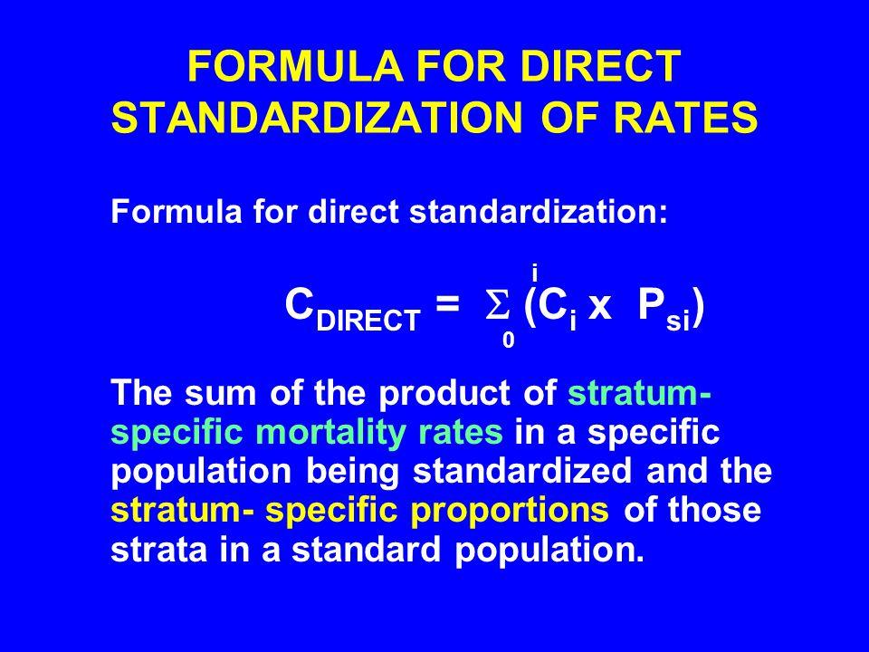 FORMULA FOR DIRECT STANDARDIZATION OF RATES