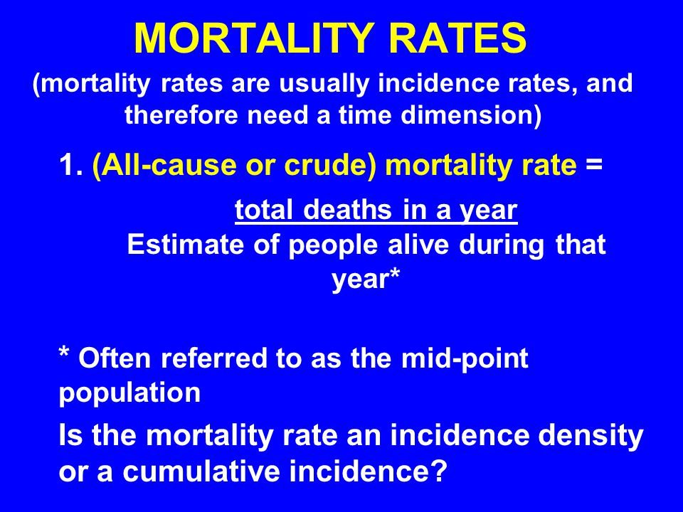 MORTALITY RATES 1. (All-cause or crude) mortality rate =