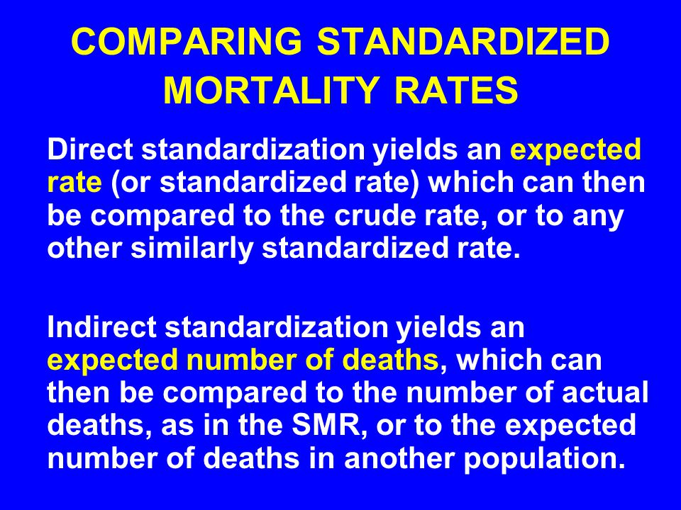 COMPARING STANDARDIZED MORTALITY RATES