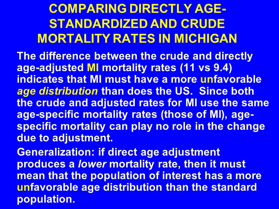 COMPARING DIRECTLY AGE-STANDARDIZED AND CRUDE MORTALITY RATES IN MICHIGAN